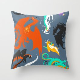 A Flight with Dragons Throw Pillow