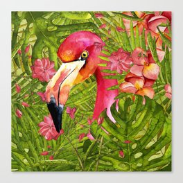 Flamingo in Jungle Canvas Print