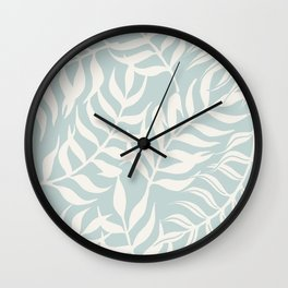 Coastal Palm Leaves on Pastel Blue by Erin Kendal Wall Clock