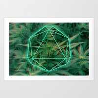 Trippy 3D geometric weed Art Print