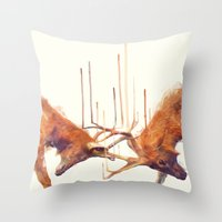 strong Throw Pillows featuring Stags // Strong by Amy Hamilton