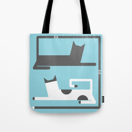 CATS IN LOVE BLUE (abstract animals) Tote Bag
