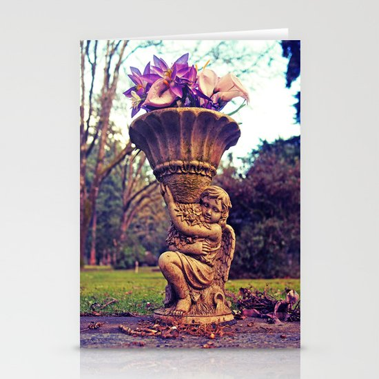 Graveyard statue Stationery Cards