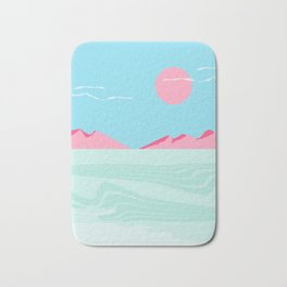 Current - memphis throwback retro colorful tropical abstract sunset sunrise west coast socal Bath Mat