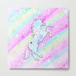 Pastel Rainbow Unicorn Metal Print
