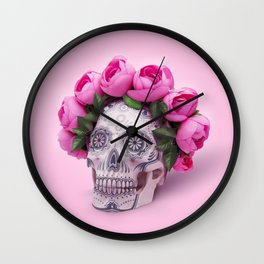 Day of the Dead, a Skull with a wreath of roses on a pink background Wall Clock