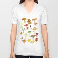 mushrooms V-neck T-shirts featuring Mushrooms by Lara Paulussen