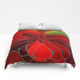 Abstract Poinsettia Comforters