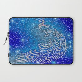 Sparkling Blue & White Peacock Laptop Sleeve