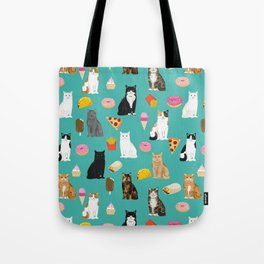 Cat breeds junk foods ice cream pizza tacos donuts purritos feline fans gifts Tote Bag