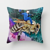 Throw Pillows featuring Me on a bee by Deli Dan