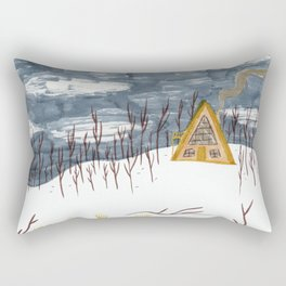 A-Frame Home in the Woods Rectangular Pillow