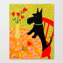 Scottie Dog and Tulips Canvas Print