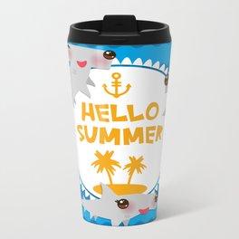 Hello Summer. Kawaii hammerhead shark Metal Travel Mug