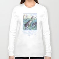 dolphins Long Sleeve T-shirts featuring Dolphins by Natalie Berman