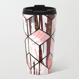 Tropical Pastel Geometric Cubes Design Travel Mug