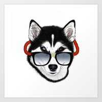 husky Art Prints featuring HUSKY by Rebeca Zum
