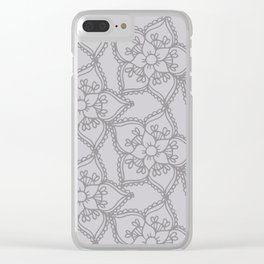 Silver gray lacey floral 2 Clear iPhone Case