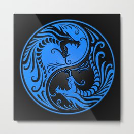Blue and Black Yin Yang Dragons Metal Print