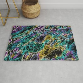 psychedelic rotten sketching texture abstract background in green purple yellow Rug