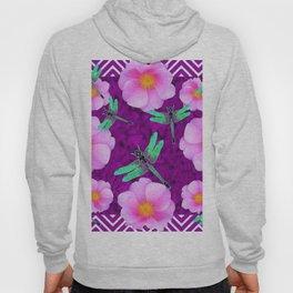 Aqua Dragonflies Pink Roses Purple Abstract Pattern Art Hoody