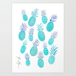 Pineapple Watercolor Illustration in Blue Art Print