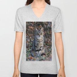 Sitting cat posing Unisex V-Neck