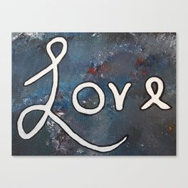 Love Acrylic Painting in Blue, White and Red Canvas Print