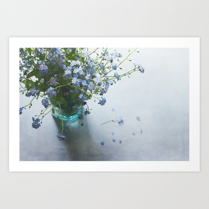 Forget-me-not bouquet in Blue jar Art Print