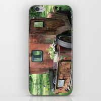 jeep iPhone & iPod Skins featuring Red Jeep with Flowers by Julia Leffelman