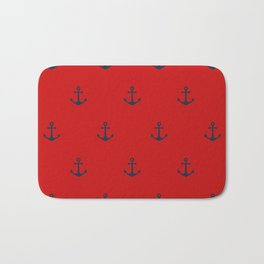 Navy Sailor Anchor Pattern Blue And Red Bath Mat