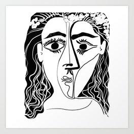 Picasso Woman's head #6 black line Art Print