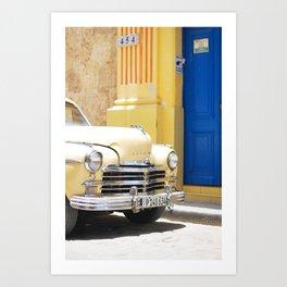 33. Vintage Yellow Chevrolet, Cuba Art Print