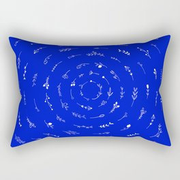 Minimalist Spring Floral Cyclone (White on Blue) Rectangular Pillow