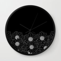 Daisy Boarder Black Wall Clock