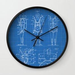 Parachute Pack Patent - Sky Diving Art - Blueprint Wall Clock