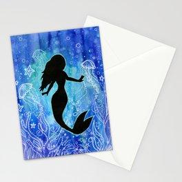 Mermaid Watercolor Underwater Stationery Cards