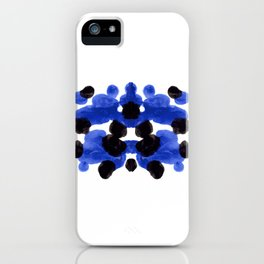 Periwinkle Purple Blue And Black Ink Blot Diagram iPhone Case