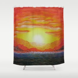 Copper Mountains / Oil Painting Shower Curtain