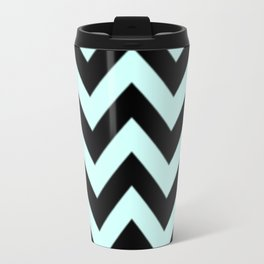 Light Blue and Black Chevron Stripes Travel Mug