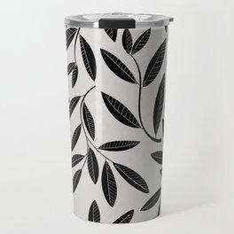 Black and White Plant Leaves Pattern Travel Mug