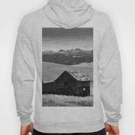 old wooden barn landscape digital oil painting akvop bw Hoody