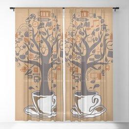 Coffee Tree Sheer Curtain