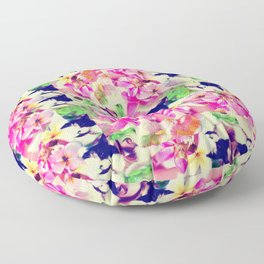 Abstract Pink Floral With a Cat Floor Pillow