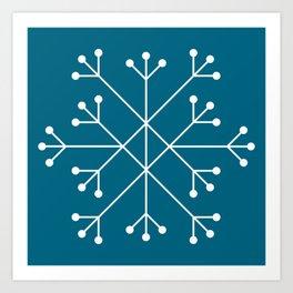 Mod Snowflake Teal Art Print