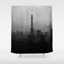 Cemetery (Black and White) Shower Curtain