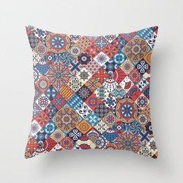 Patchwork Vector Seamless Pattern Throw Pillow