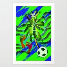 Soccer on the beach Art Print