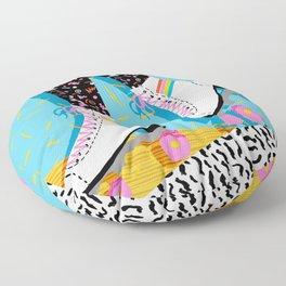Steeze - 80's memphis rollerskating rad neon trendy art gifts throwback retro vibes Floor Pillow