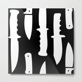Survival Knives Pattern - White on Black Metal Print